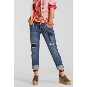 Cabi Patchwork Slim Boyfriend Denim Jeans Size 2